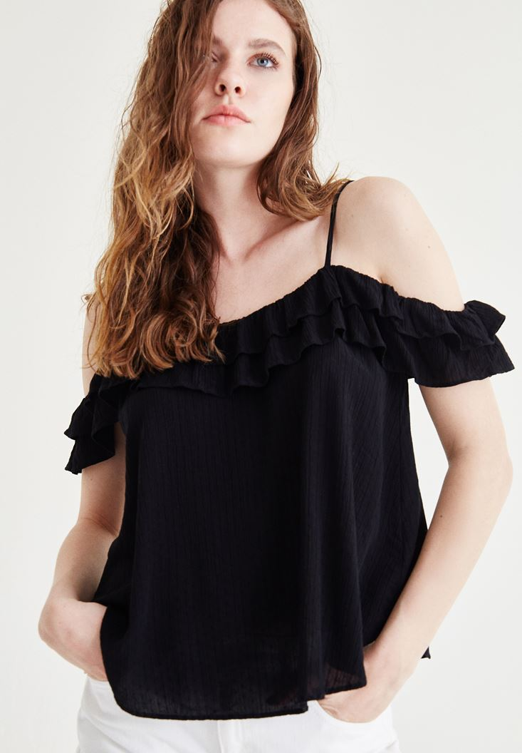 Black Blouse With Ruffle Detailed