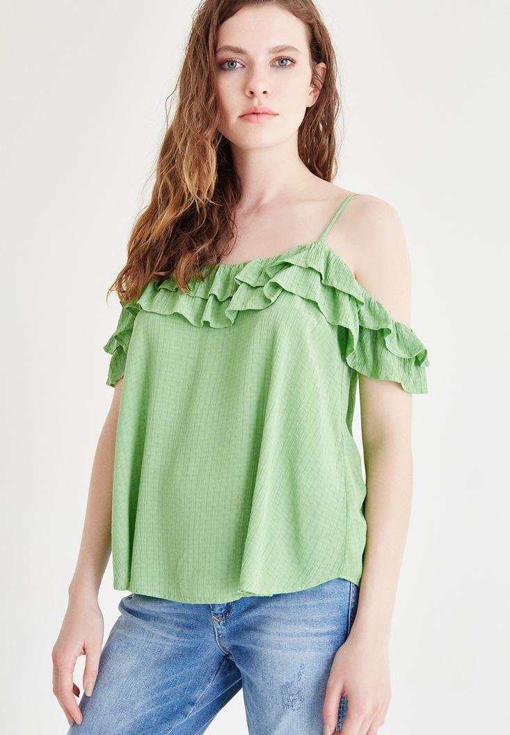 Bayan Yeşil Fırfır Detaylı Askılı Bluz