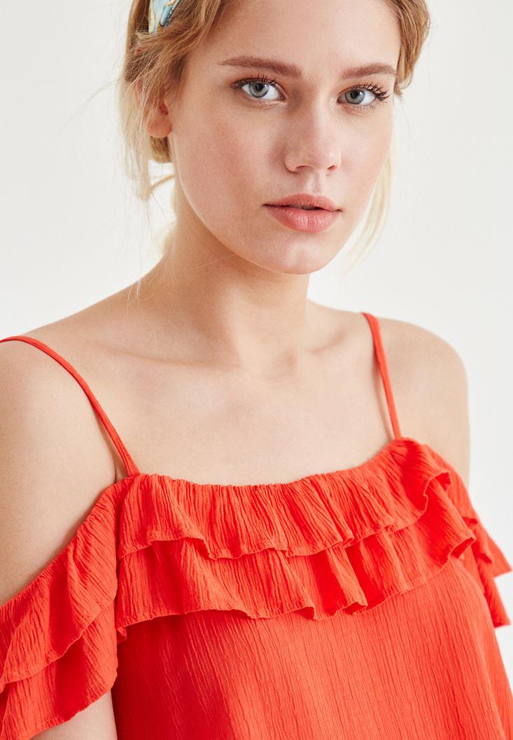 Bayan Kırmızı Fırfır Detaylı Askılı Bluz