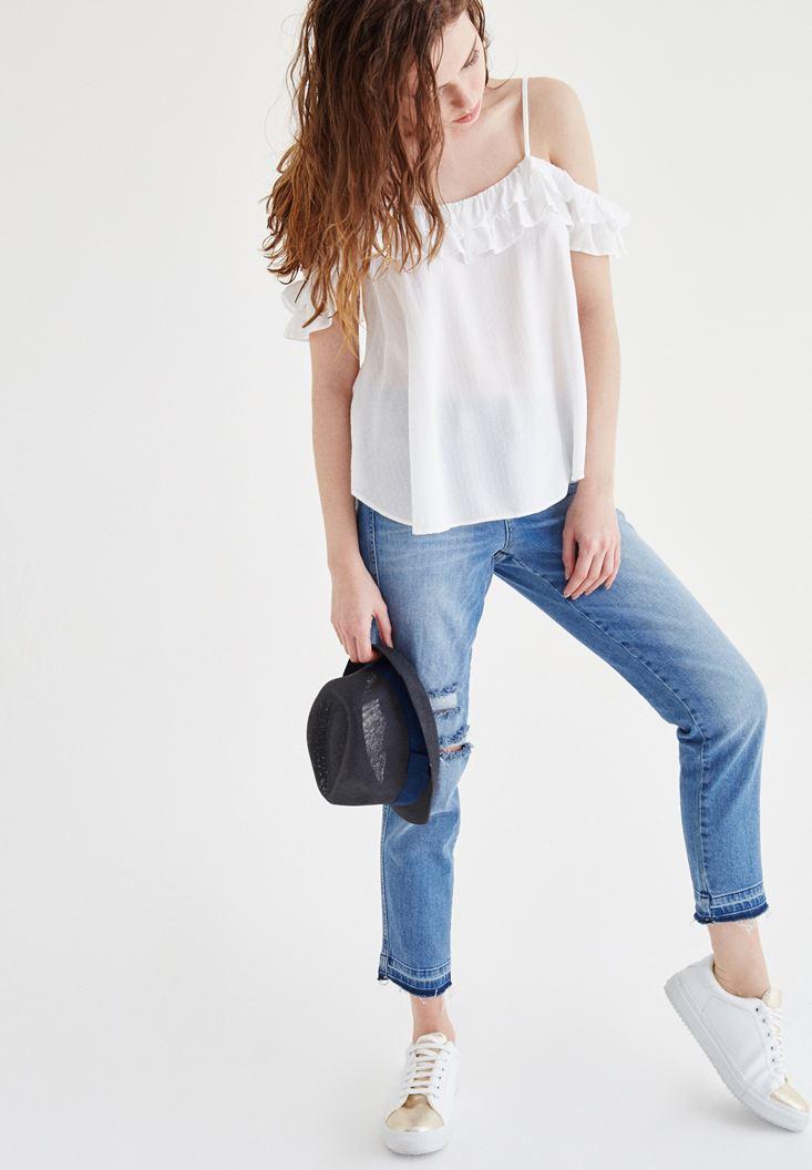 Bayan Beyaz Fırfır Detaylı Askılı Bluz