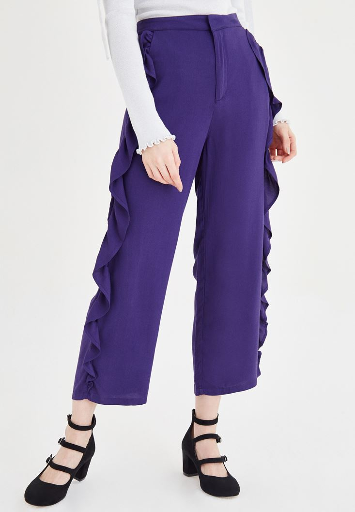 Purple Pants With Frilled Detail