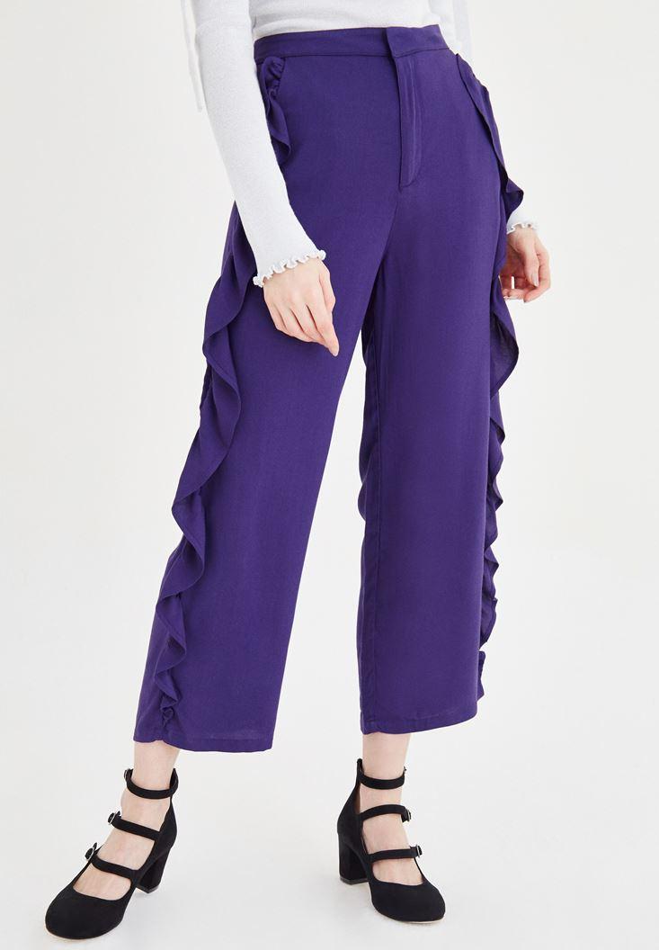 Mor Volan Detaylı Pantolon