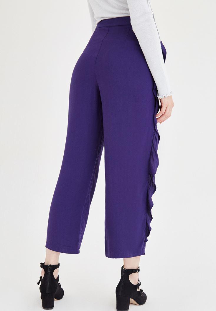 Bayan Mor Volan Detaylı Pantolon