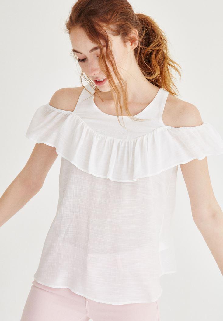 Cream Shoulder Off Blouse