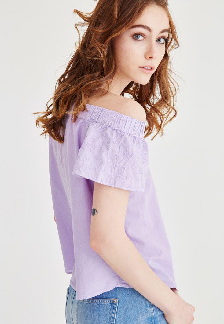 Purple Shoulder Off Blouse