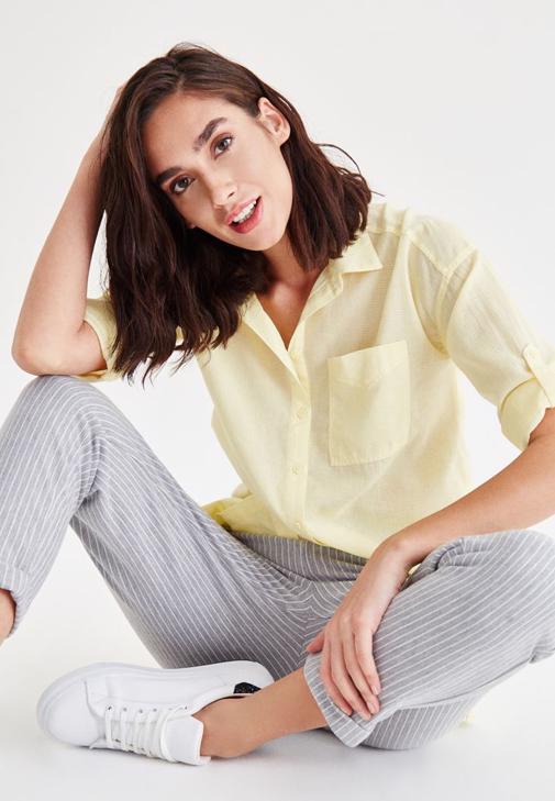 Sarı Cep Detaylı Gömlek