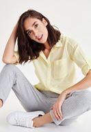 Bayan Sarı Cep Detaylı Gömlek