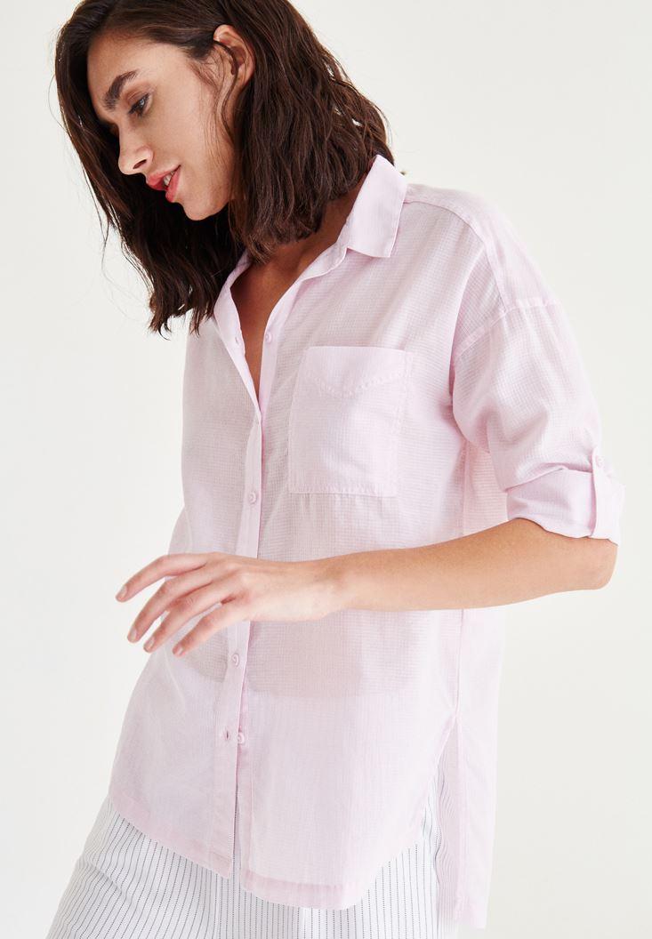 Bayan Pembe Cep Detaylı Gömlek