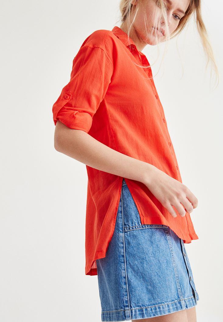 Kırmızı Cep Detaylı Düz Gömlek