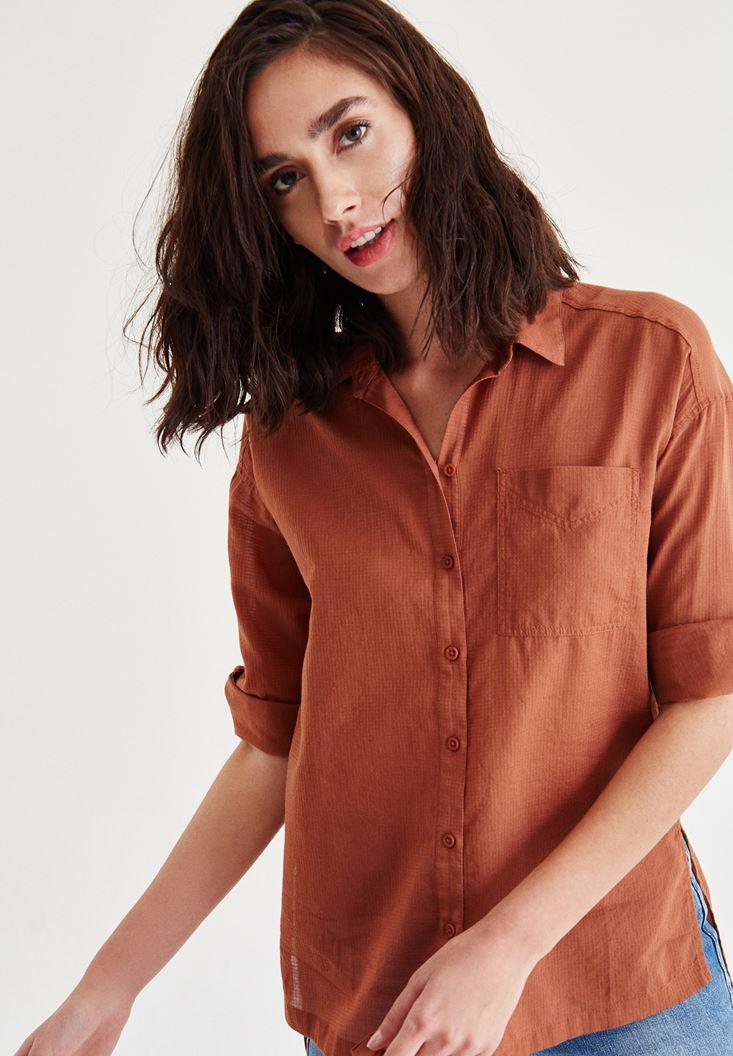 Kahverengi Cep Detaylı Düz Gömlek