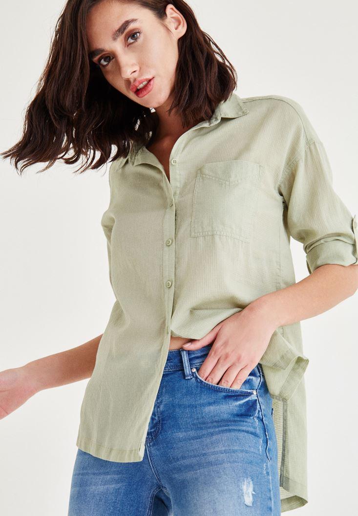 Yeşil Cep Detaylı Düz Gömlek