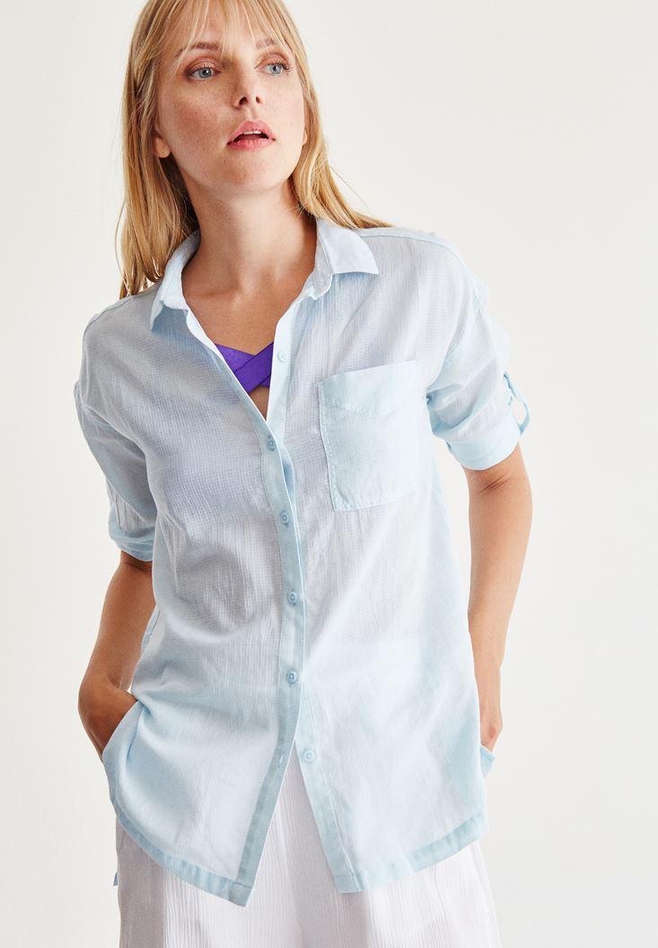 Mavi Cep Detaylı Düz Gömlek