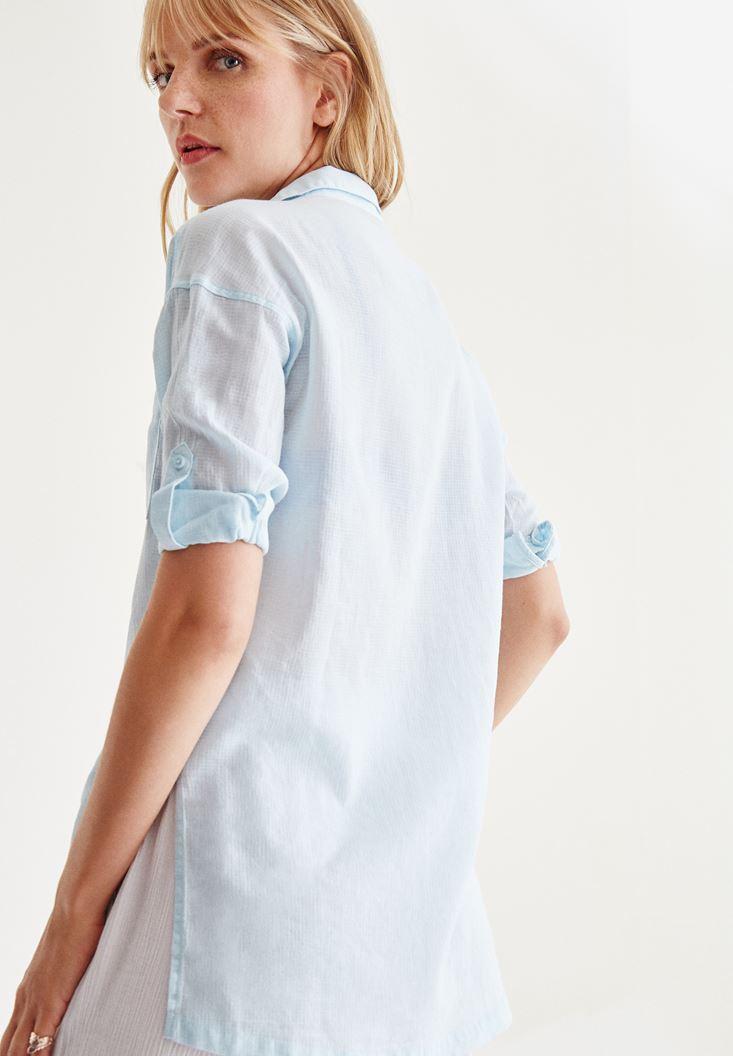 Bayan Mavi Cep Detaylı Düz Gömlek