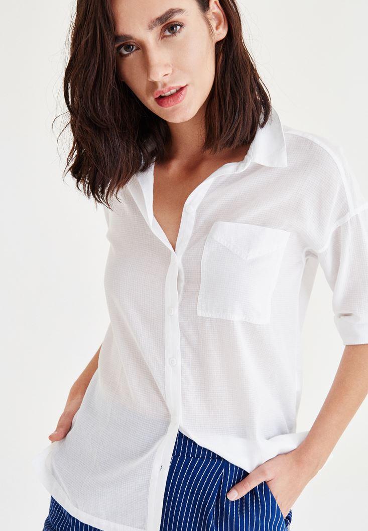 Bayan Beyaz Cep Detaylı Gömlek