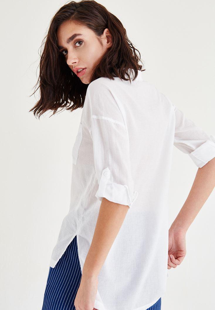 Bayan Beyaz Cep Detaylı Düz Gömlek