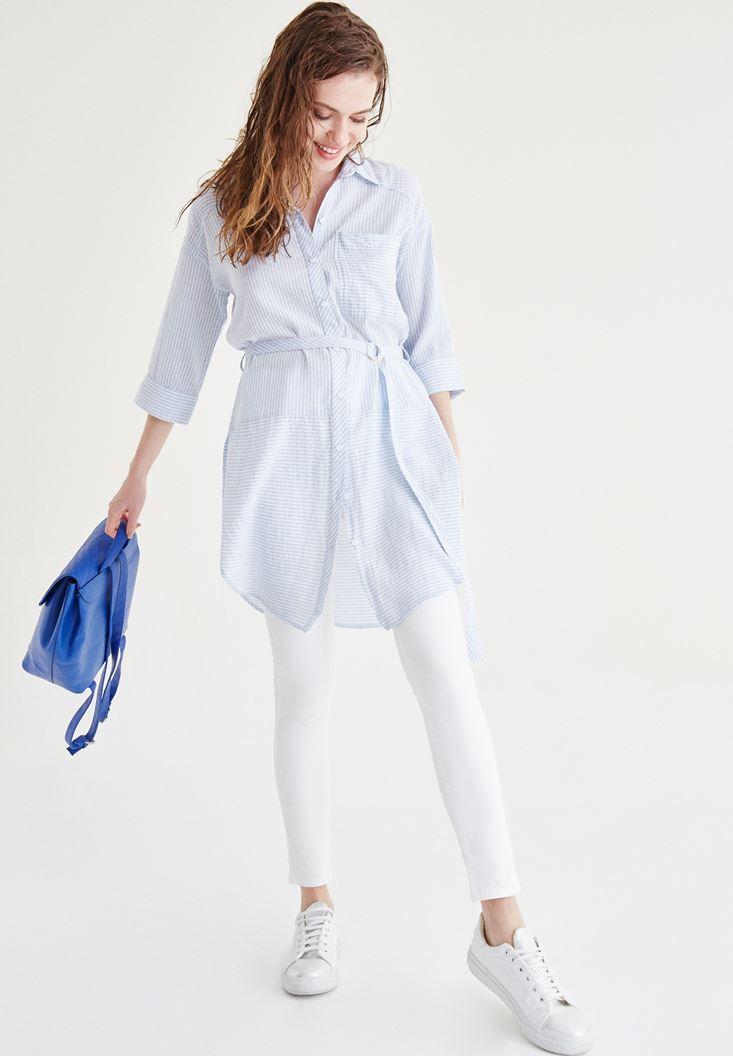 Mavi Kemerli Uzun Gömlek