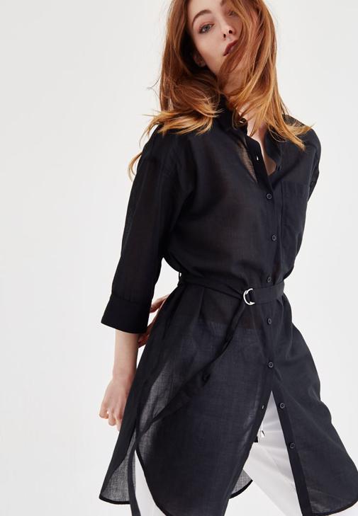 Siyah Kemer Detaylı Uzun Gömlek