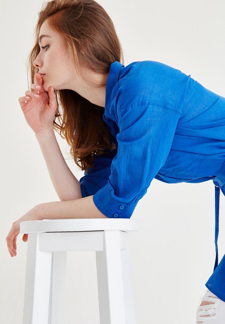 Mavi Kemer Detaylı Uzun Gömlek