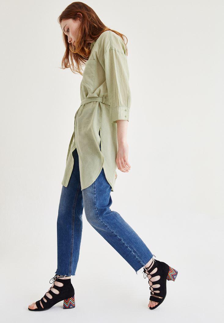 Yeşil Kemer Detaylı Uzun Gömlek