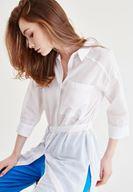 Bayan Beyaz Kemer Detaylı Uzun Gömlek