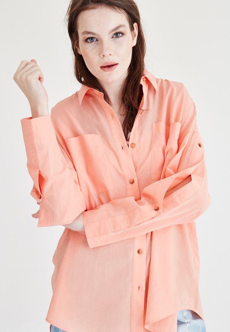 Pembe Cep Detaylı Pamuk Gömlek