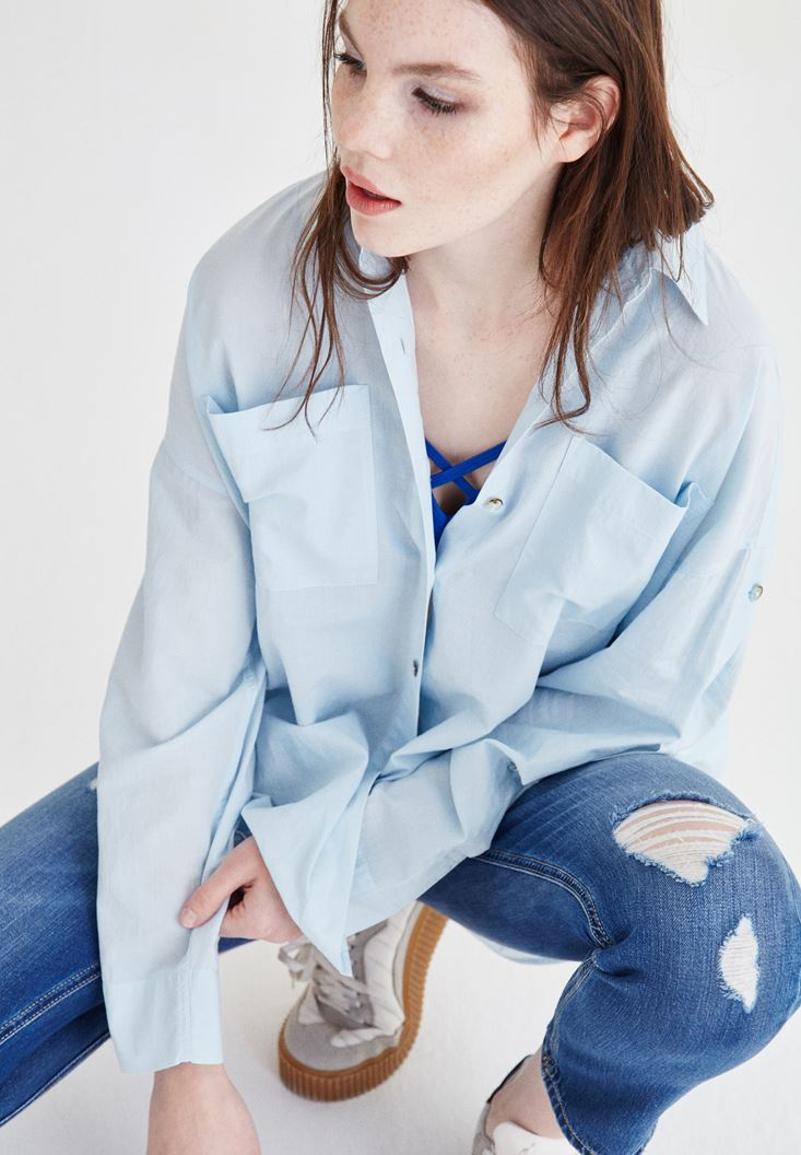 Mavi Cep Detaylı Pamuk Gömlek