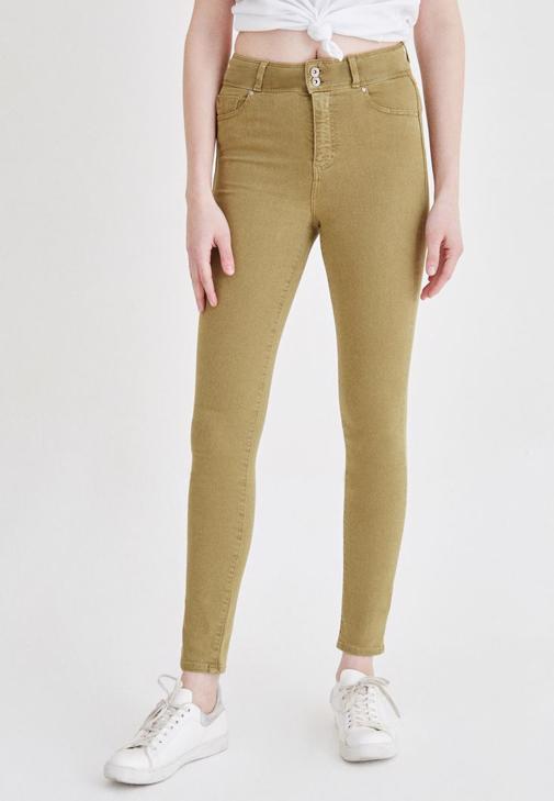 Yeşil Yüksek Bel Skinny Pantolon