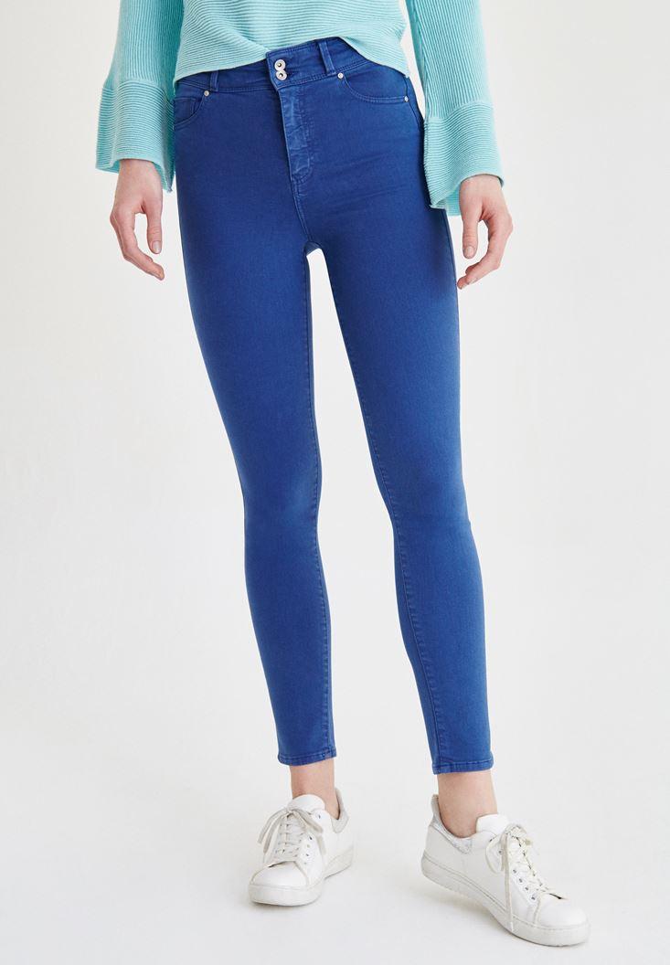 Blue High Rise Skinny Pants
