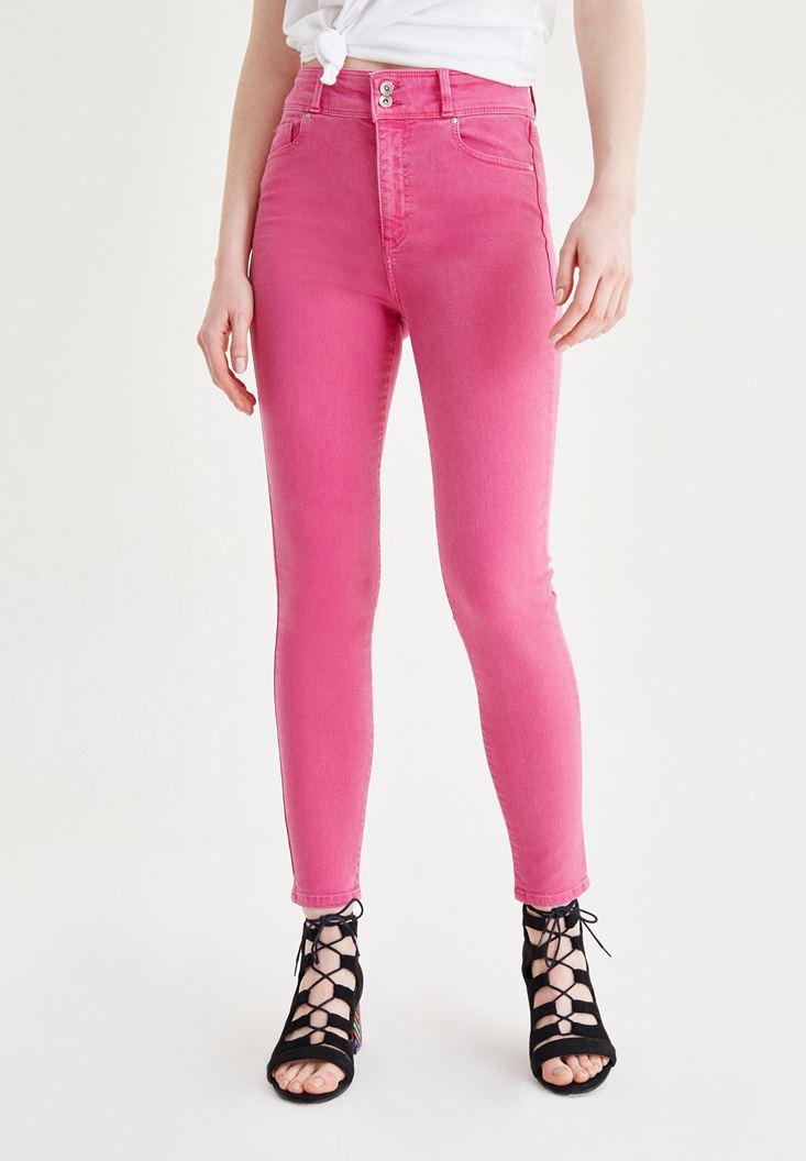 Pembe Yüksek Bel Skinny Pantolon