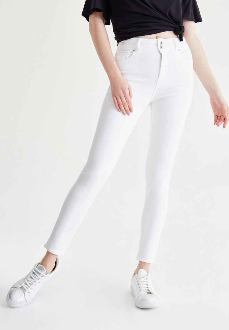 Beyaz Yüksek Bel Skinny Pantolon