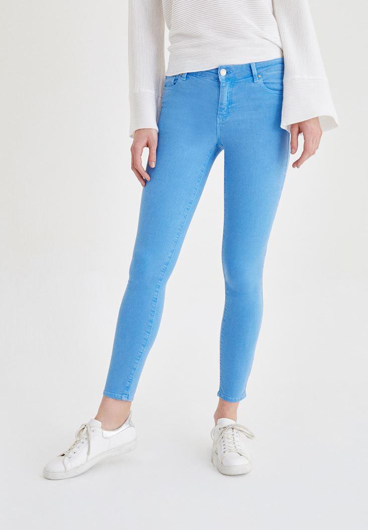 Mavi Düşük Bel Skinny Pantolon