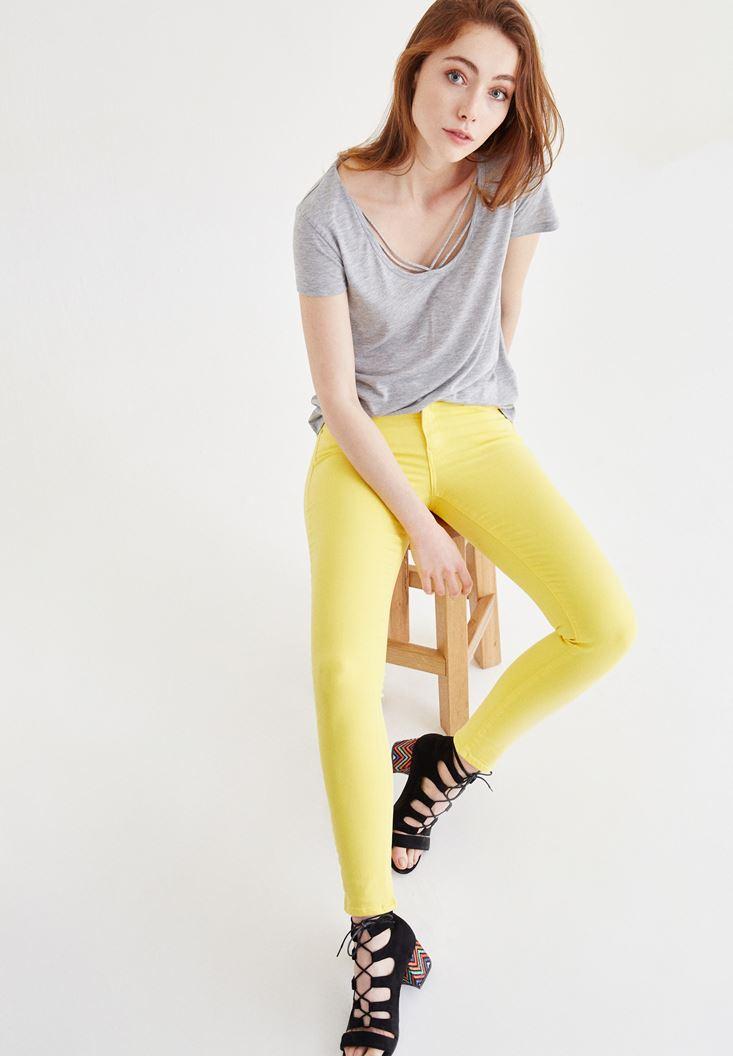 Sarı Düşük Bel Skinny Pantolon