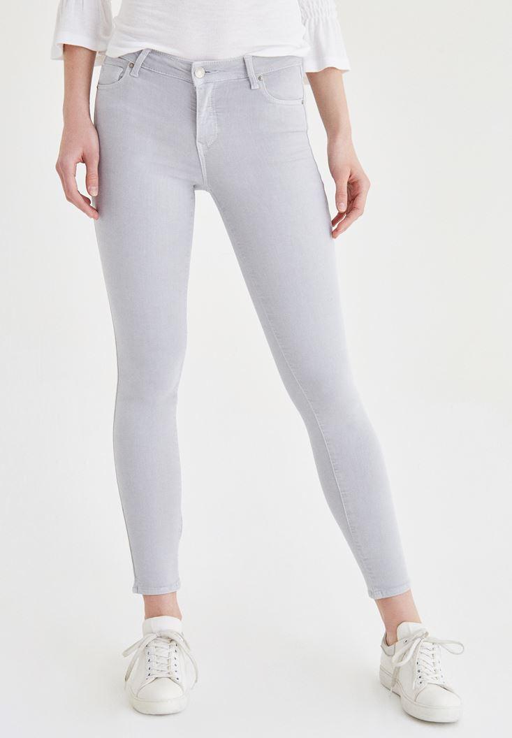 Gri Düşük Bel Skinny Pantolon
