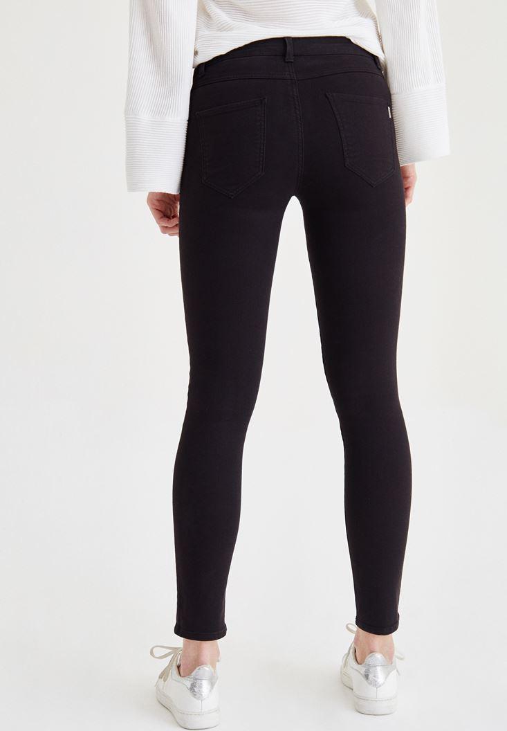 Bayan Siyah Düşük Bel Skinny Pantolon