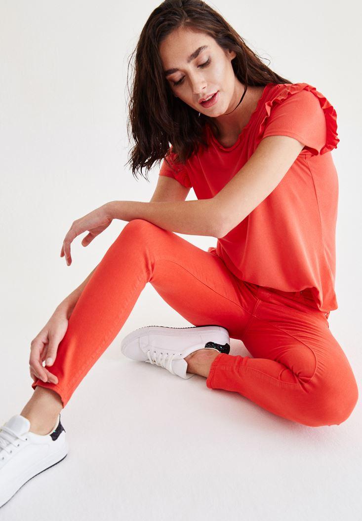 Kırmızı Düşük Bel Skinny Pantolon