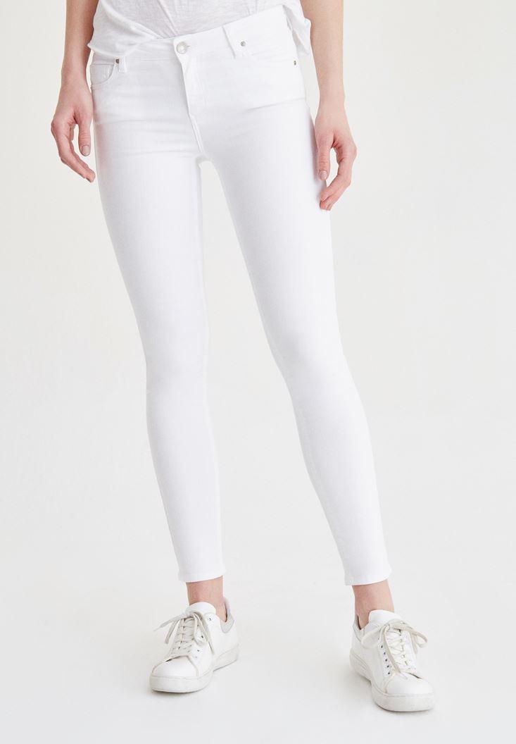 Beyaz Düşük Bel Skinny Pantolon