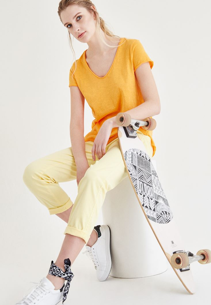 Yellow Straight Cut Pants