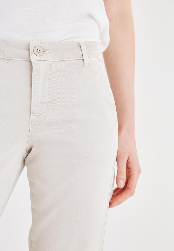Bayan Krem Boru Paça Pantolon