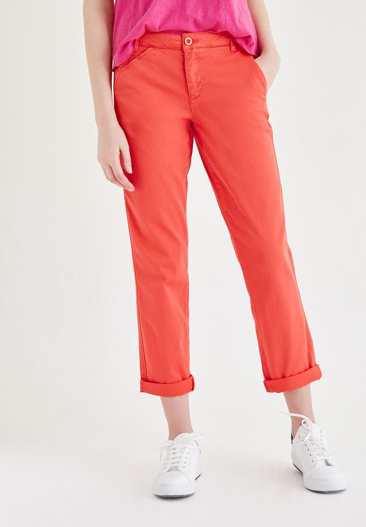 Red Straight Cut Pants