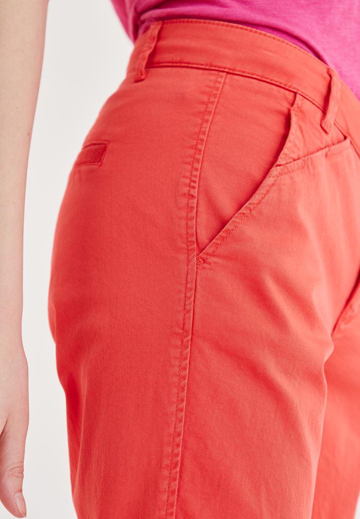 Women Red Straight Cut Pants