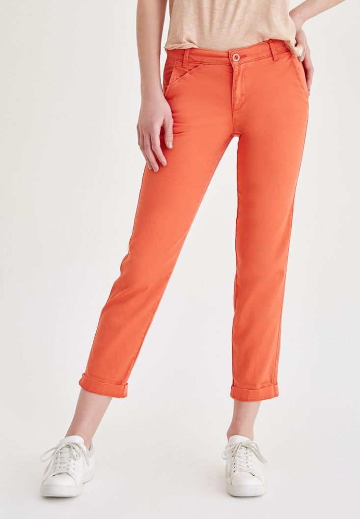Orange Straight Cut Pants