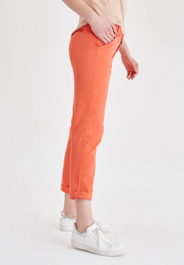 Women Orange Straight Cut Pants