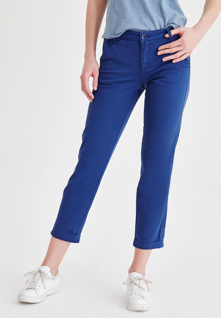 Bayan Mavi Boru Paça Pantolon