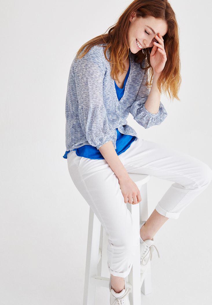Bayan Beyaz Boru Paça Pantolon