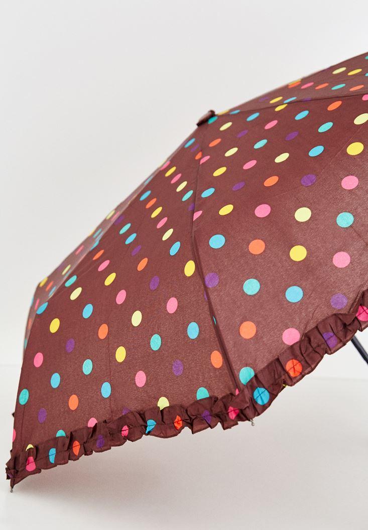 Bordo Puantiye Detaylı Şemsiye