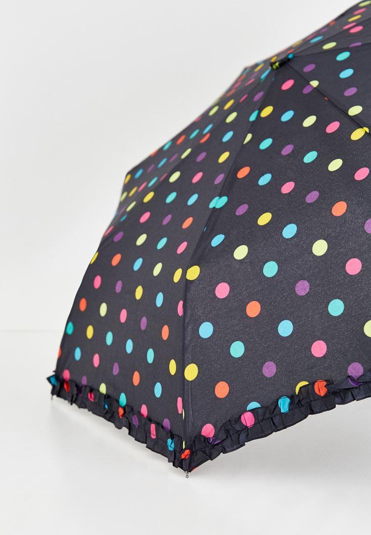 Siyah Puantiye Detaylı Şemsiye