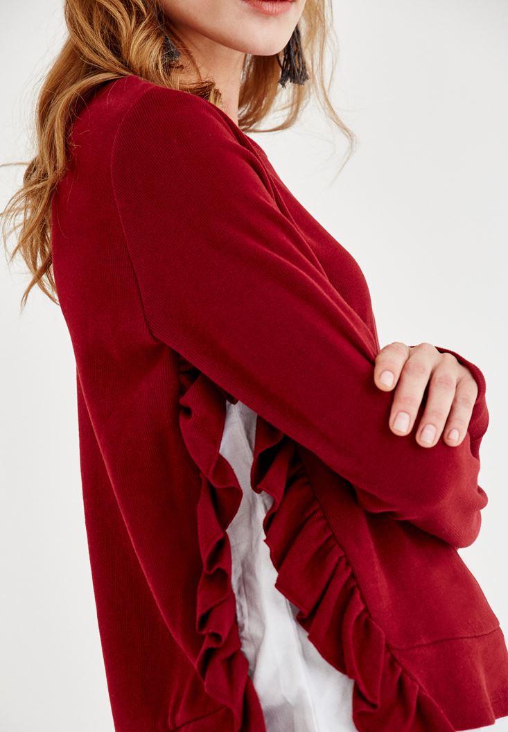 Bayan Bordo Yanları Fırfır Detaylı Tişört