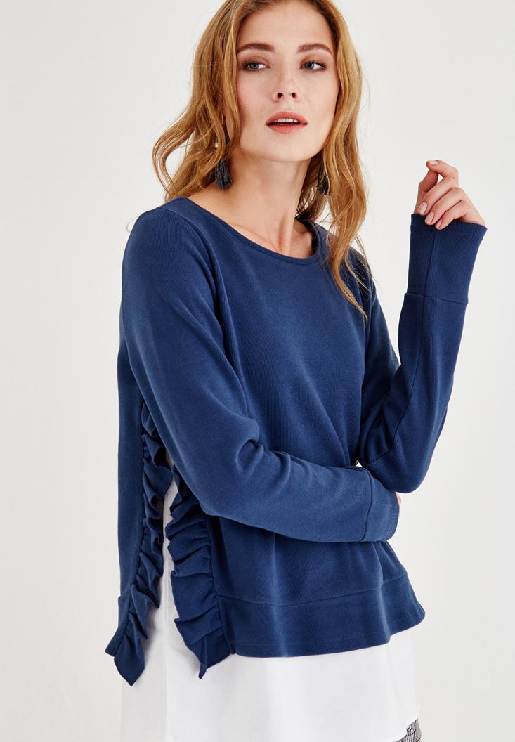 Blue T-Shirt with Ruffle Detail