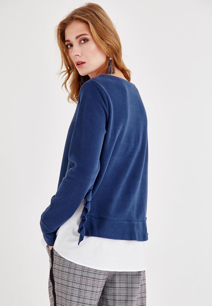 Bayan Mavi Yanları Fırfır Detaylı Tişört