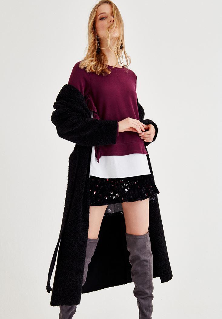 Desenli Etek ve Siyah Hırka Kombini